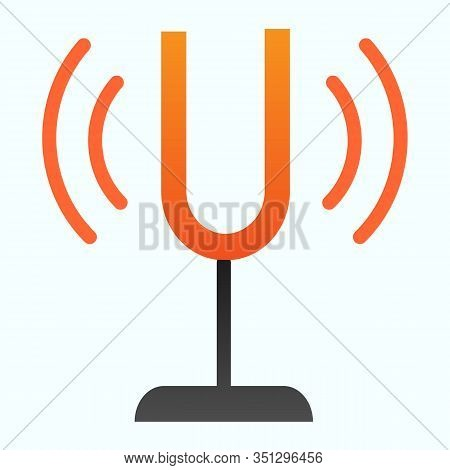 Tuning Fork Flat Icon. Sound Tuner Vector Illustration Isolated On White. Musical Equipment Gradient