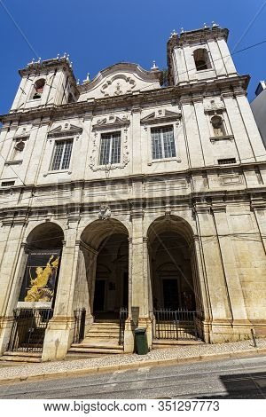 Lisbon - August 30, 2019: Facade Of The Church Of Saint Catherine, Originally Built In The 17th Cent