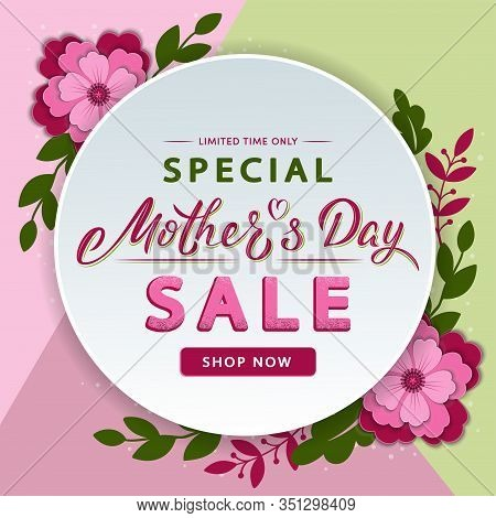 Mother's Day Modern Sale Banner With Lettering Text And Flowers