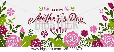 Happy Mother's Day Hand Lettering Text With Flowers And Branches