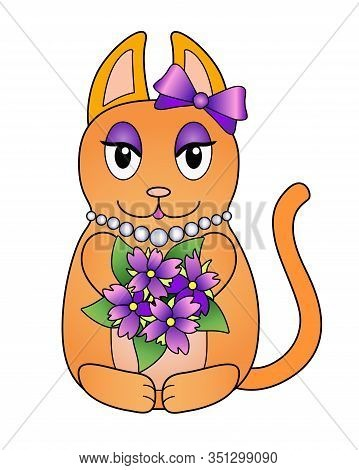 Red Cat In Cartoon Style - Stock Illustration. Kitty Is A Fashionista With A Purple Bow, Pearl Beech