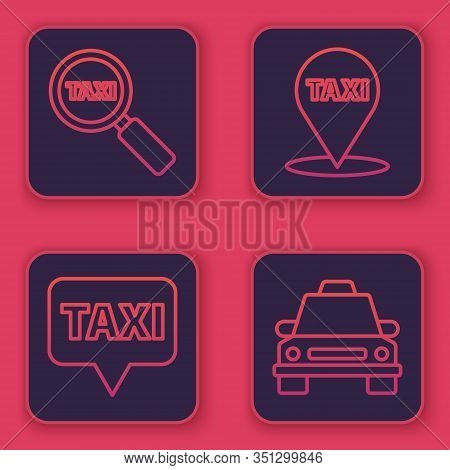 Set Line Magnifying Glass And Taxi Car, Map Pointer With Taxi, Map Pointer With Taxi And Taxi Car. B