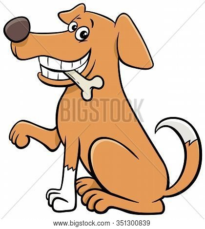 Cartoon Illustration Of Funny Sitting Dog Comic Animal Character With Bone