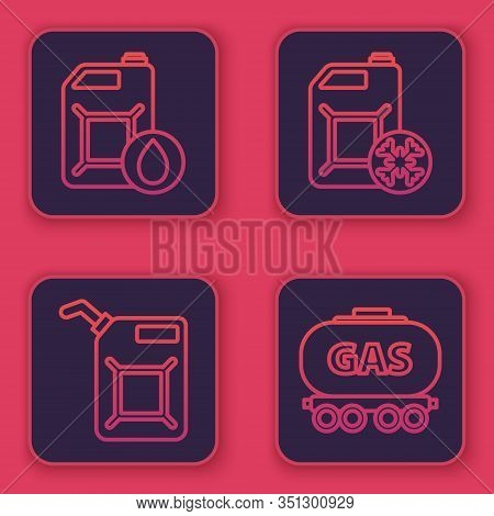 Set Line Canister For Motor Machine Oil, Canister For Gasoline, Antifreeze Canister And Gas Railway