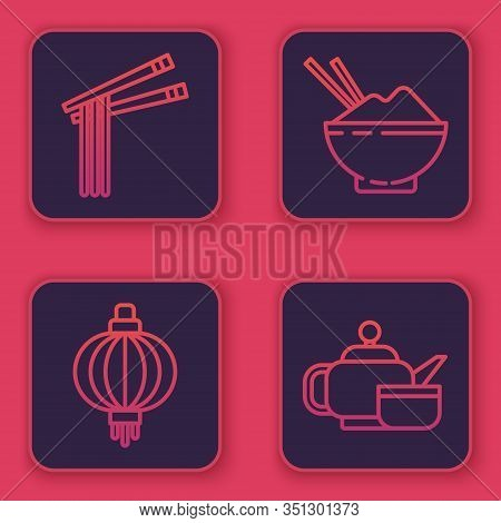 Set Line Asian Noodles And Chopsticks, Japanese Paper Lantern, Rice In A Bowl With Chopstick And Jap