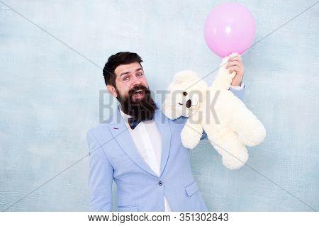 Man Wear Tuxedo Bow Tie. Romantic Man With Teddy Bear And Air Balloon Waiting Girlfriend. Romantic G