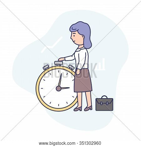 Time Management Concept. Businesswoman Is Standing Near Big Stop Watch. Concept Of Working Time Plan