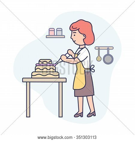 Cooking Cake Concept. Happy Woman Is Cooking Food At The Kitchen, Baking And Decorating Tasty Pie. W