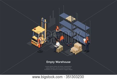Isometric Concept Of Warehouse. Work Process In Warehouse. Empty Warehouse And Work Personnel. Manag