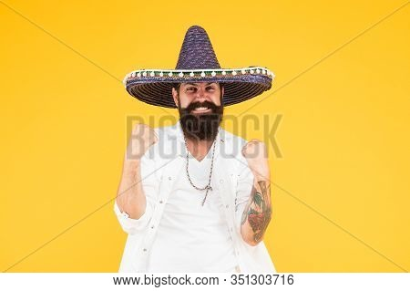 In Love With Mexico. Hipster Looks Festive In Sombrero. Celebrating Fiesta. Happy Man Wear Poncho. H