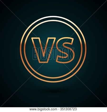 Gold Line Vs Versus Battle Icon Isolated On Dark Blue Background. Competition Vs Match Game, Martial