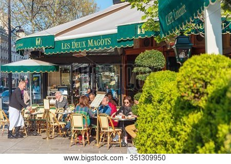 PARIS, FRANCE - August 22, 2019: PARIS, FRANCE - APRIL 22, 2019: Restaurants in Paris city, France.