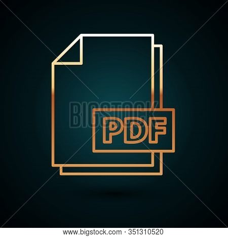 Gold Line Pdf File Document. Download Pdf Button Icon Isolated On Dark Blue Background. Pdf File Sym