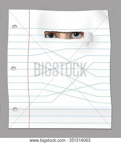 Eyes Of A Student Peer Through A Hole In A Sheet Of School Notebook Paper That Has Lines That Angle