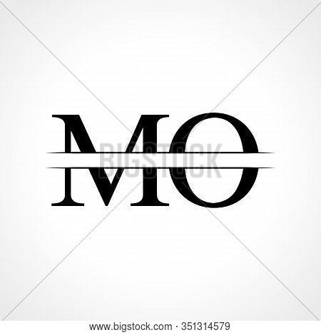 Initial Mo Letter Logo Design Vector Template. Abstract Black Letter Mo Logo Design