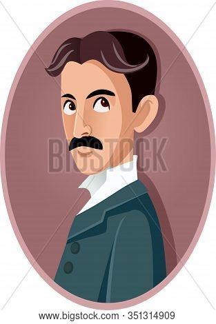 Nikola Tesla Vector Caricature Portrait Illustration Cartoon