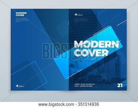 Brochure Template Layout Design. Blue Corporate Business Brochure, Annual Report, Catalog, Magazine,