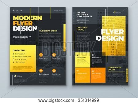 Flyer Design. Dark Yellow Modern Flyer Background Design. Template Layout For Flyer. Concept With Dy