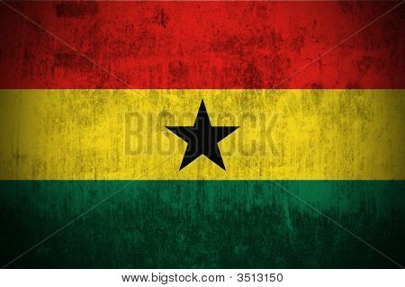 Dirty Weathered Flag Of Ghana fabric textured poster
