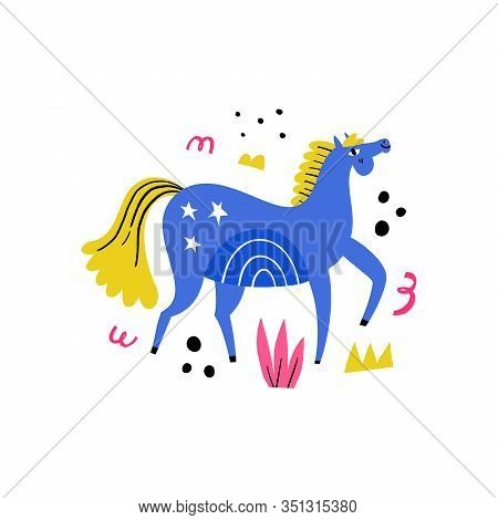 Dressage Horse. Blue Stallion Walking On Abstract Background. Equestrian Sport Flat Hand Drawn Color