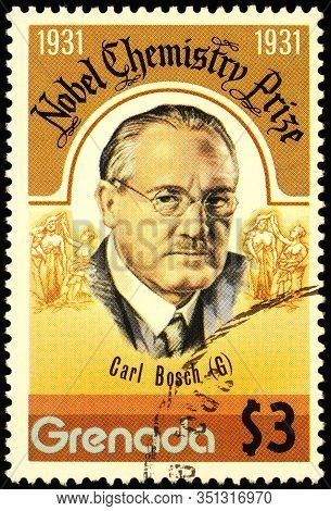 Moscow, Russia - February 17, 2020: Stamp Printed In Grenada, Shows Carl Bosch (1874-1940), German C