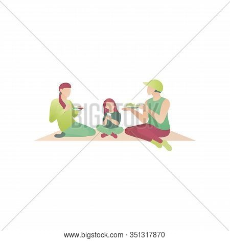 Family In The Park On A Picnic, Flat Vector Illustration. Two Women And A Child At Leisure In Summer