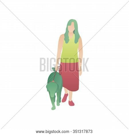 Woman And Pet, A Flat Vector Illustration. A Woman Walks A Pet On A Leash. A Girl Foot In The Park A