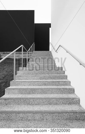 Empty Stairway Of Modern Architecture.  Building Abstract Background