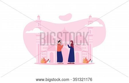 Happy Eid Mubarak, Ramadan Mubarak Greeting Concept With People Character Illustration