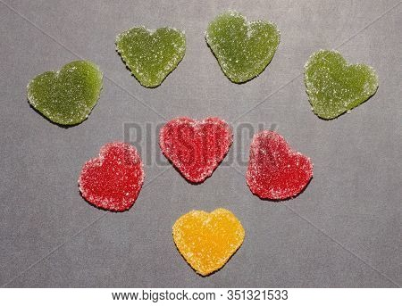 Marmalade In Sugar On A Chalk Board Background. Marmalade Multi-colored Sweets. Heart. Valentines Da