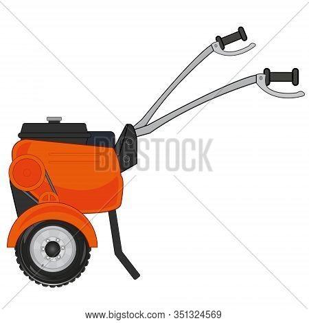 Walking Tractor Cartoon For Garden And Vegetable Garden