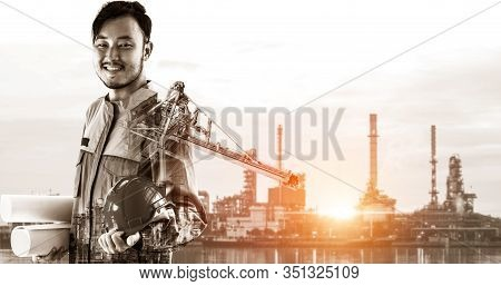 Future Factory Plant And Energy Industry Concept In Creative Graphic Design. Oil, Gas And Petrochemi