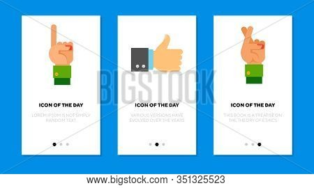 Popular Hand Gestures Flat Icon Set. Communication, Charismatic, Nonverbal Isolated Vector Sign Pack