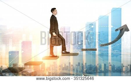 Business Man Climbing Up Stair Steps To Success