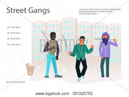 Landing Web Page Template With Horror Gang Of Criminals, Hooligans And Street Riots. Young Ghetto Gu