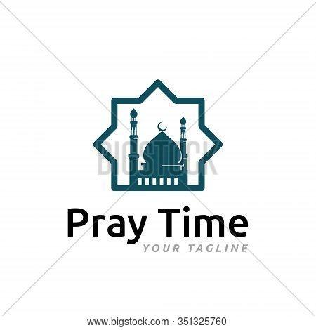 Islam Mosque Pray Worship Place Muslim Community Symbol Logo Template