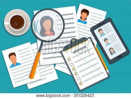 Concept Of Recruitment, Manager Searching Candidate For Hiring. Mobile App With List Of Job Applican
