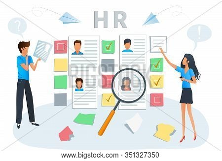 Vector Illustration Concept Of Human Resources, Hiring And Recruitment. Business Recruiting. Recruit