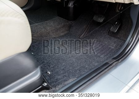 Clean Car Floor Mats Of Black Carpet With Gas Pedals And Brakes In The Workshop For The Detailing Ve