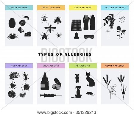 Allergy Concept Icons Set. Banner Template With Different Types Of Allergens Like Pollen, Food, Glut