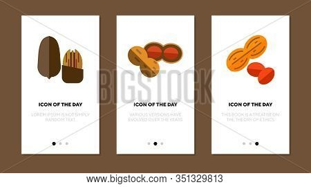 Eatable Nuts Flat Icon Set. Fat, Diet, Antioxidant Isolated Vector Sign Pack. Food And Health Concep