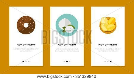 Ingredients For Cooking Flat Icon Set. Fresh, Gastronomy, Meal Isolated Vector Sign Pack. Culinary A