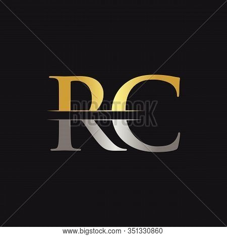 Abstract Letter RC Logo Design Vector Template. Creative Gold and Silver Colors RC Letter Logo Design