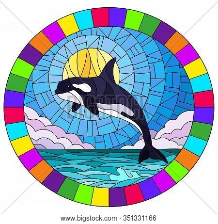 Illustration In Stained Glass Style With A Whale Orca On The Background Of Water ,cloud, Sky And Sun