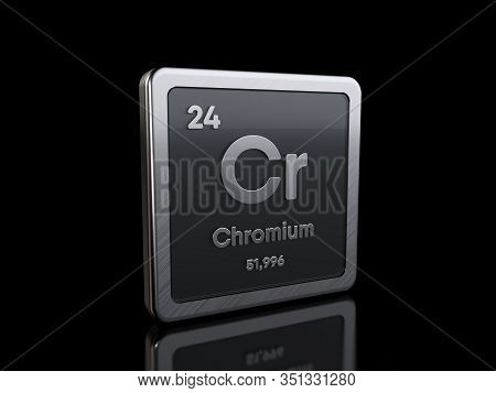 Chromium Cr, Element Symbol From Periodic Table Series. 3d Rendering Isolated On Black Background