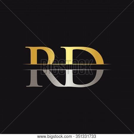 Abstract Letter RD Logo Design Vector Template. Creative Gold and Silver Colors RD Letter Logo Design