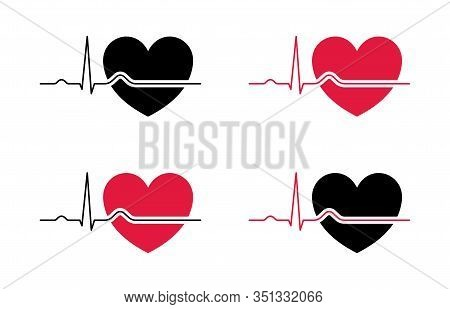 Set Heartbeat And Heart Red Black
