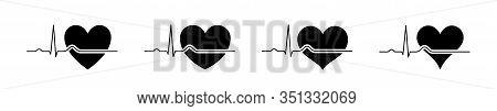Set Heartbeat Icons Black 2