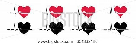 Set Heartbeat Icons Red 2