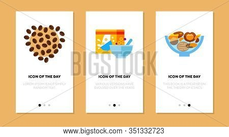 Small Meal Flat Icon Set. Crispy, Aroma, Breakfast Isolated Vector Sign Pack. Food And Health Concep